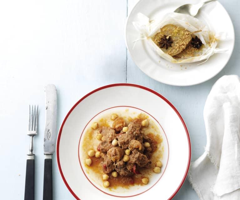 Carne guisada com grão & Pera com crumble de amêndoa