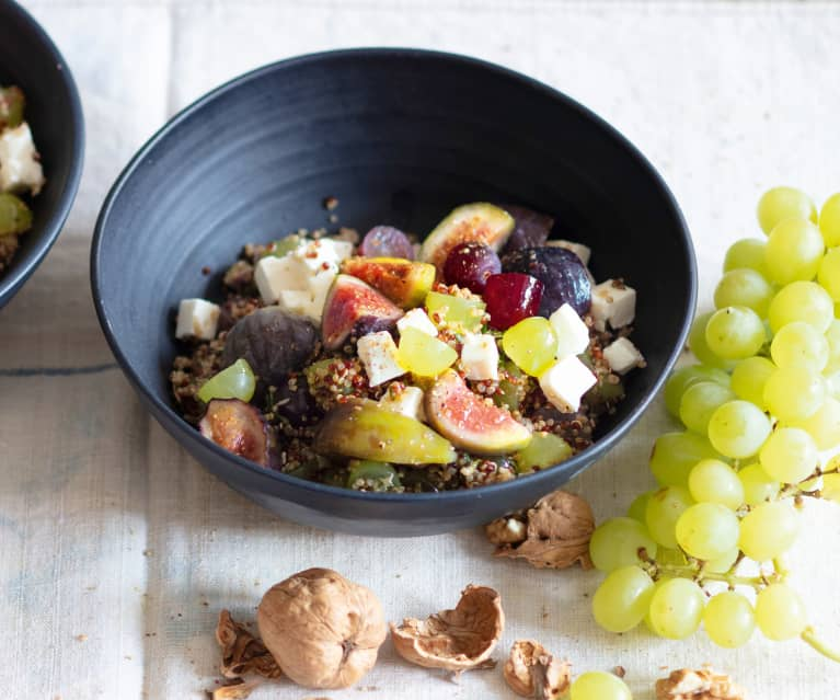 Menu light - Salade aux figues, raisins, feta et quinoa