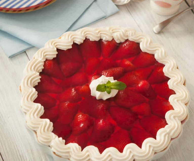 Tarta de requesón y fresas
