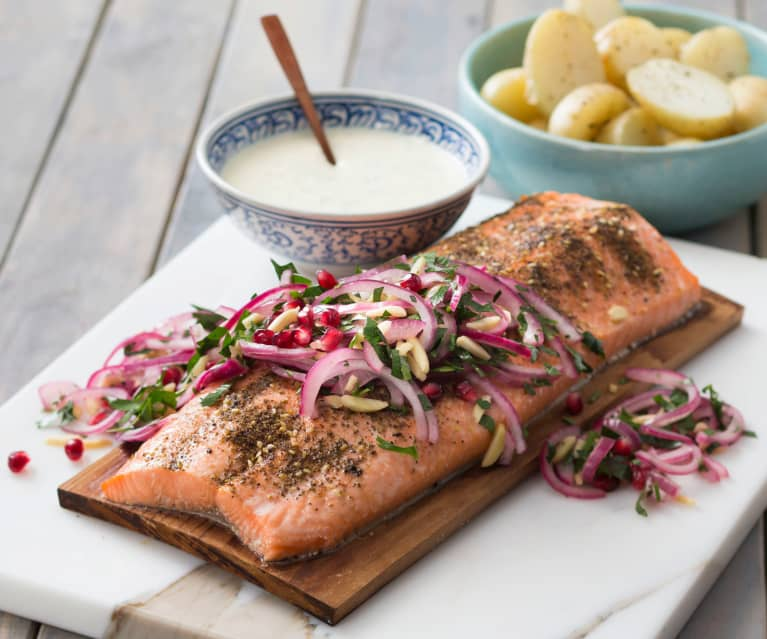 Middle Eastern planked salmon