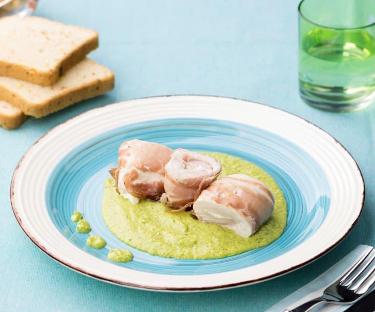 Involtini di pollo al Varoma con pesto freddo di zucchine