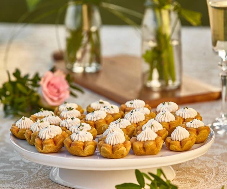 Canestrelli salati con mousse al prosciutto