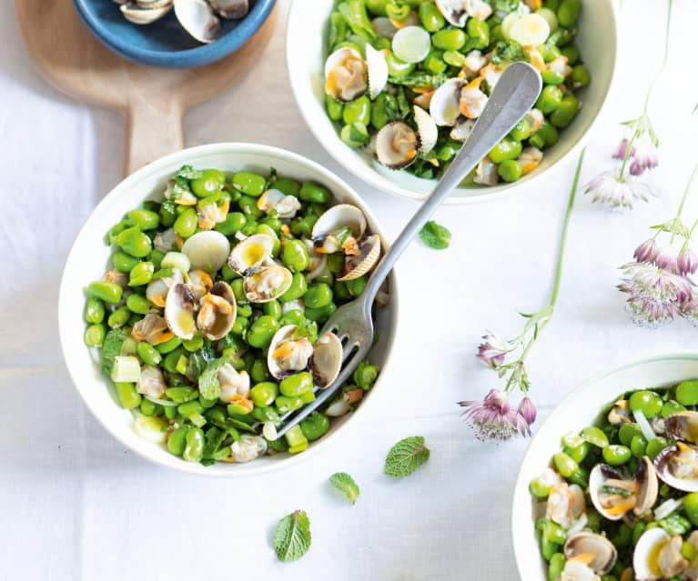 Salade de fèves aux coques à la menthe