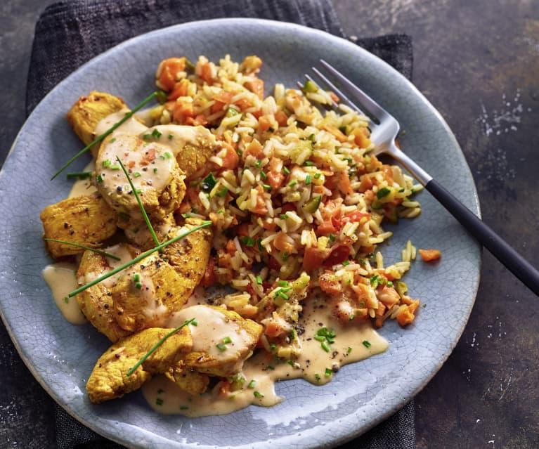 Hähnchen mit Zucchini-Möhren-Reis