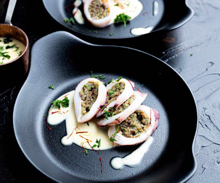 Sous-Vide Stuffed Squid and Saffron Sauce