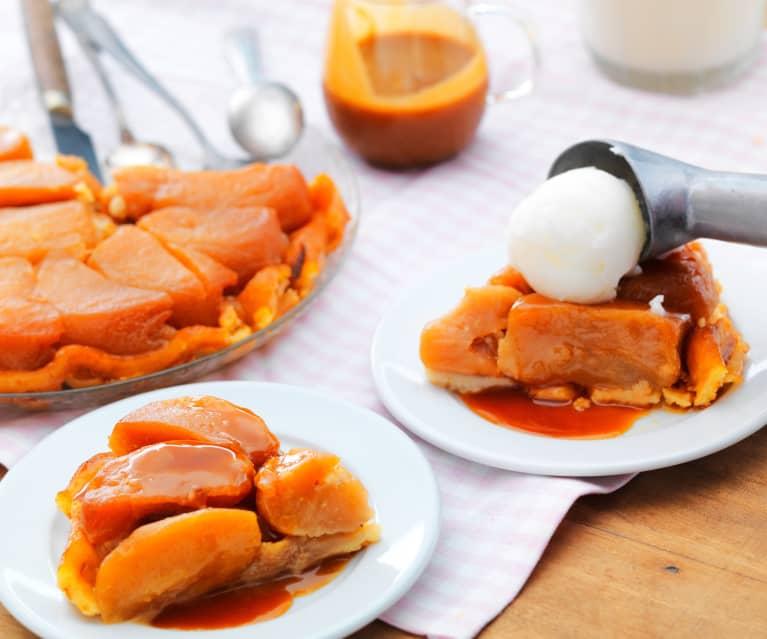Tarte Tatin caramel au beurre salé et sorbet yaourt