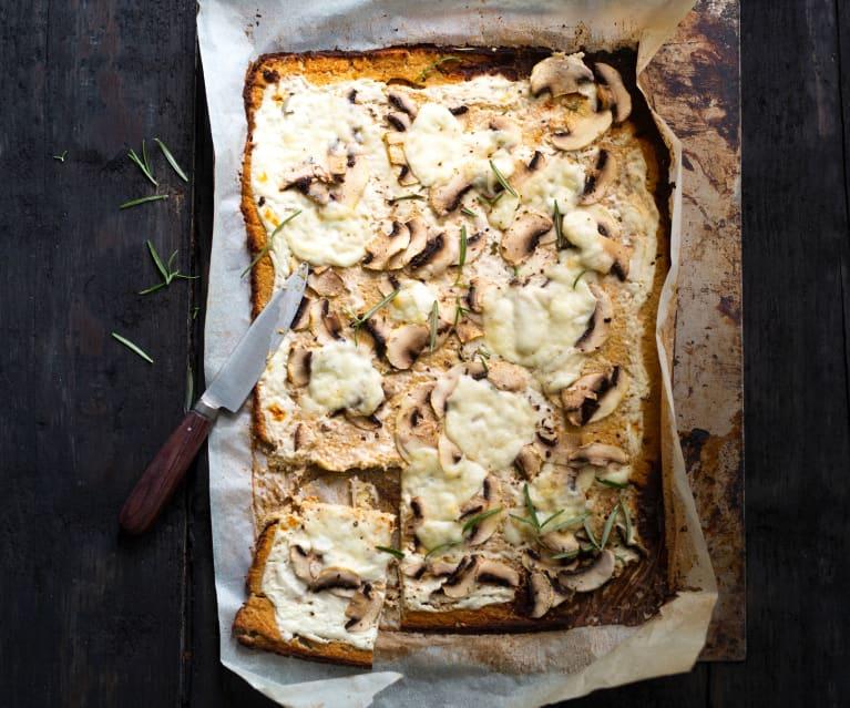 Pizza au chou-fleur et champignons