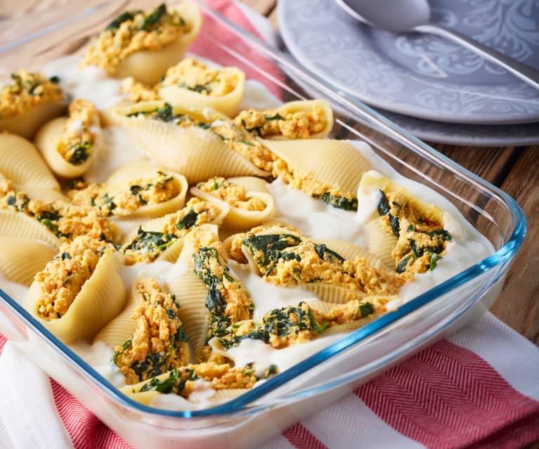 Sweet Potato Stuffed Shells with Cauliflower Alfredo Sauce