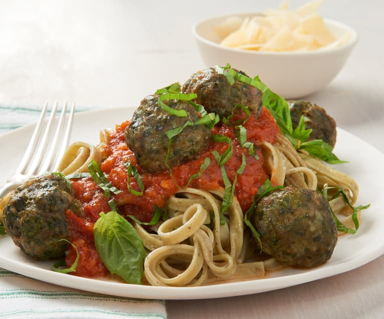 Florentine Meatballs and Linguine