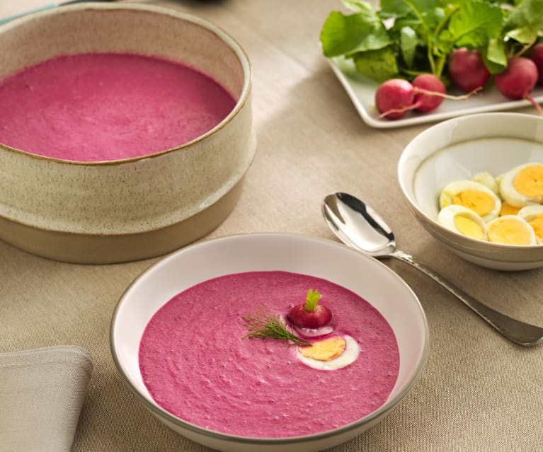 Sopa fría de pepino y remolacha