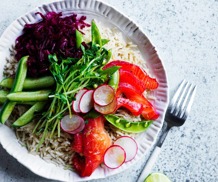 Salmon rice bowl (gut health)