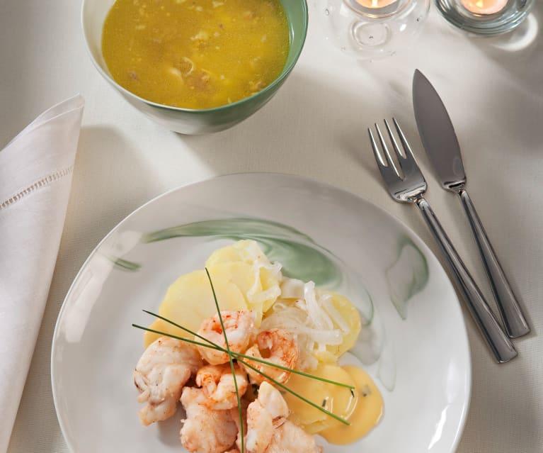 Menú para dos: Sopa de picadillo - Rape con gambón al aroma de naranja