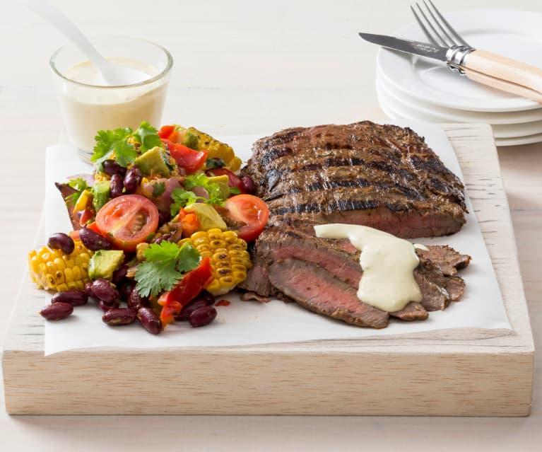 Flank steak with horseradish cream sauce (MEATER+®)