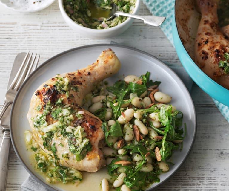Pollo asado con ensalada de judías blancas y pesto de rúcula