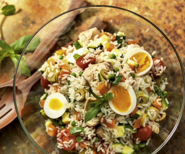 Salade de riz au thon et aux œufs