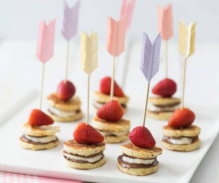 Pancake and fruit kebabs