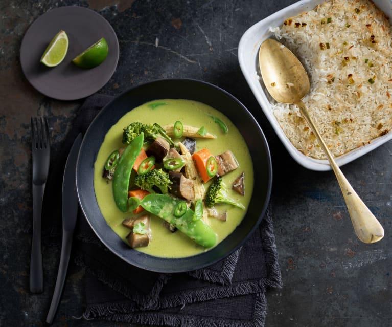 Curry verde thai vegetariano y arroz al horno con lemon grass