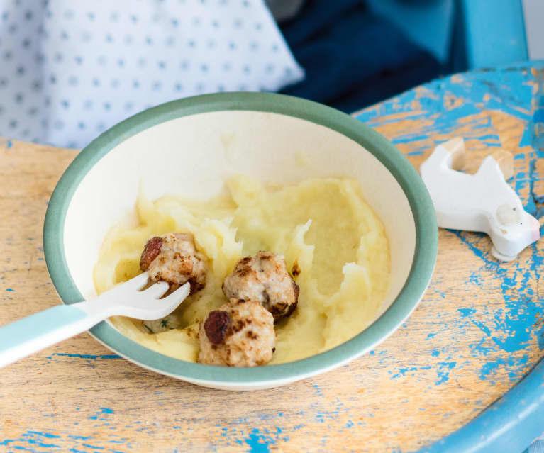 Purée de panais et boulettes aux raisins