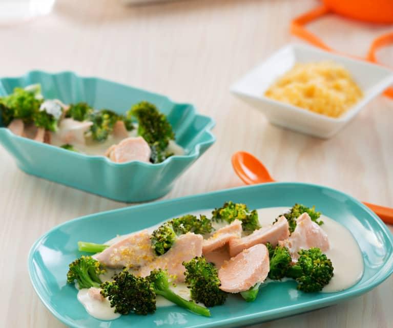 Salmón y brócoli con bechamel