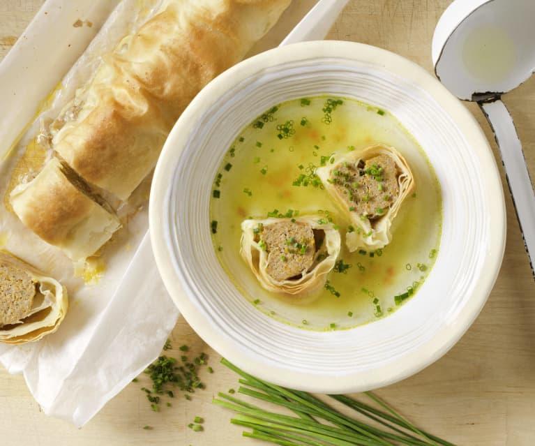 Fleischstrudel für Suppe