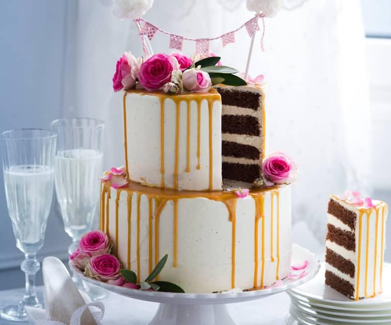 Vanille Schoko Hochzeitstorte Mit Karamelldripping