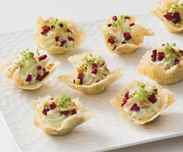 Parmesan baskets with goat's cheese mousse