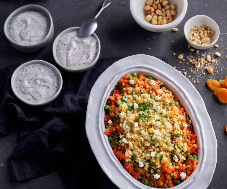 Menú: Cuscús con verduras, albaricoques y queso feta. Crema de stracciatella