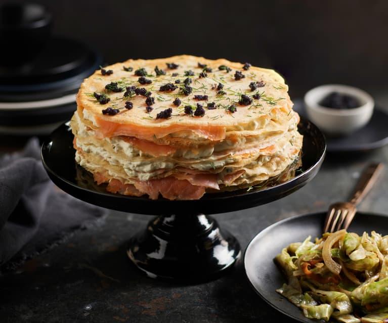 Torta di crêpes con salmone marinato