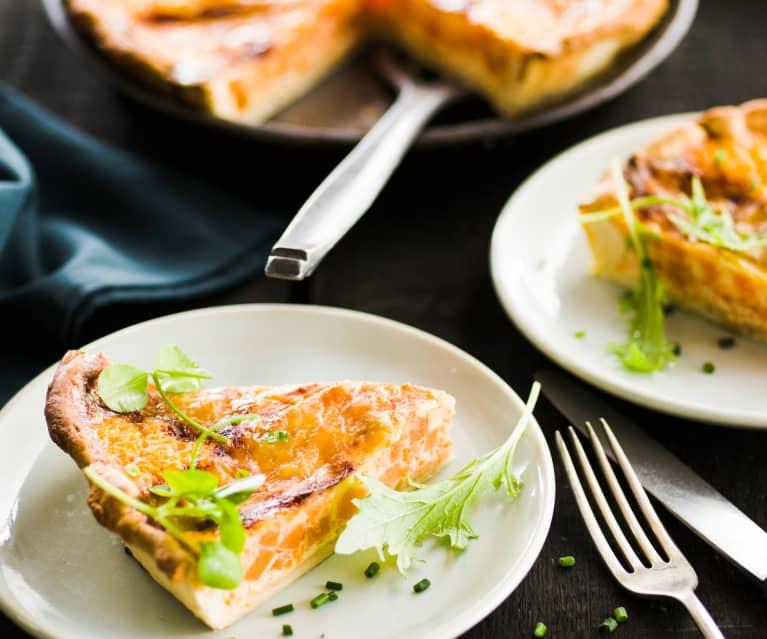 Tarte au reblochon de Savoie, courge et carotte
