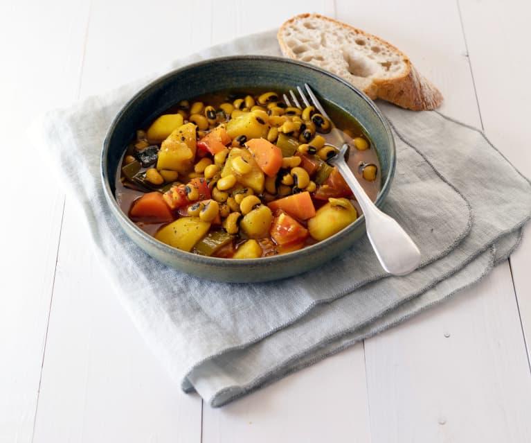 Gemüseeintopf mit Schwarzaugenbohnen