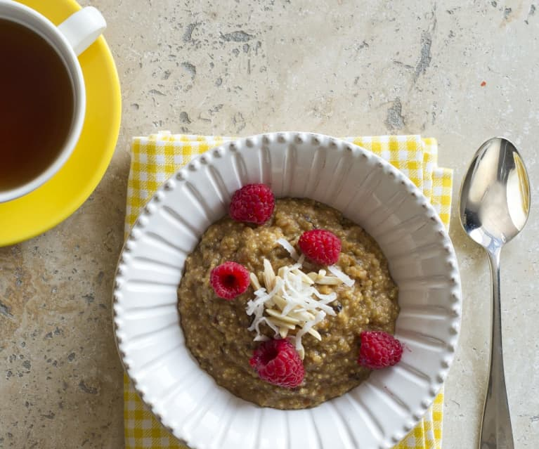 Coconut and quinoa porridge with toasted almonds