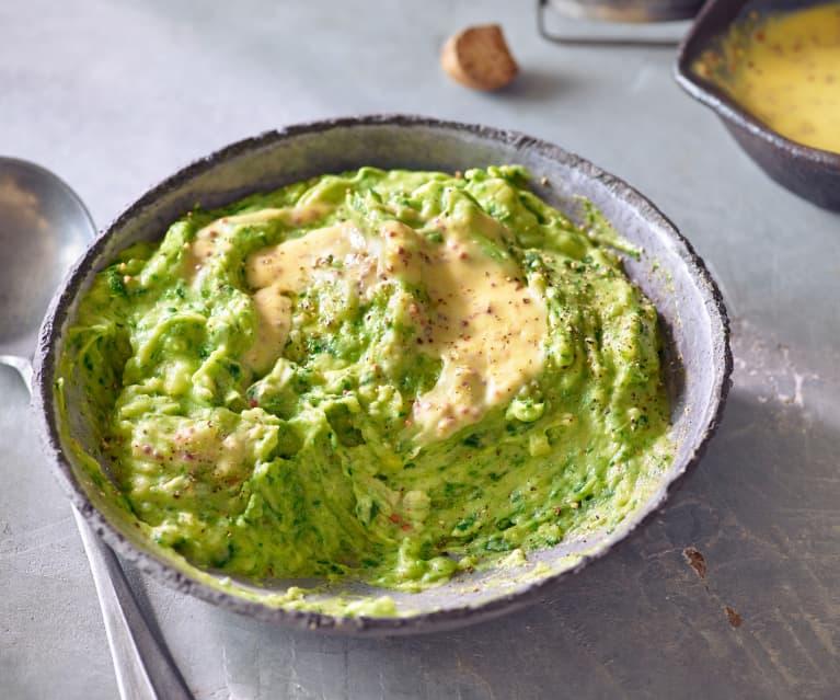 Bärlauch-Kartoffelpüree mit Senfbutter