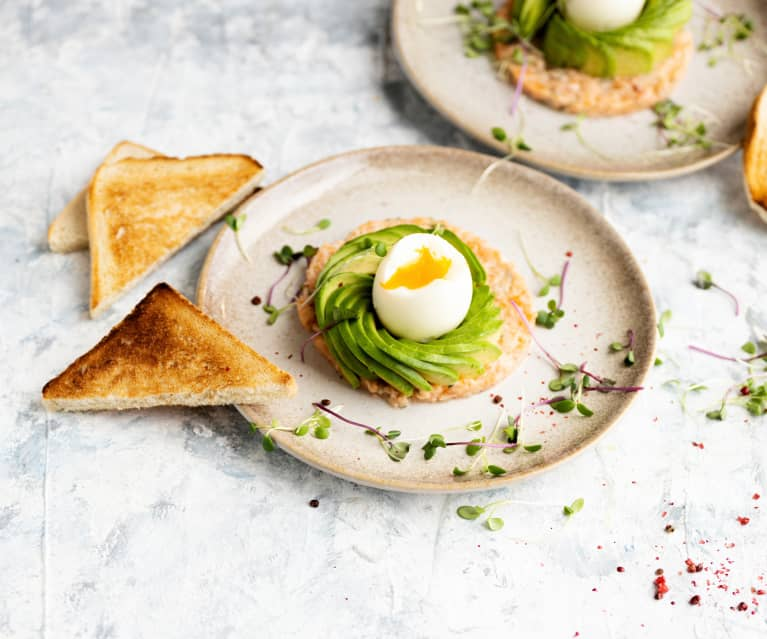 Avocado with egg and salmon tartare