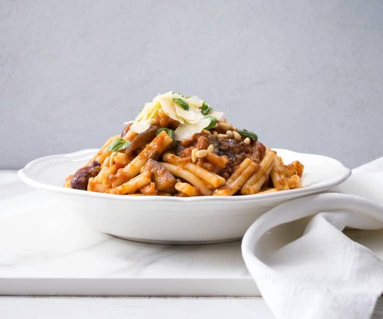 Slow-cooked eggplant pasta sauce