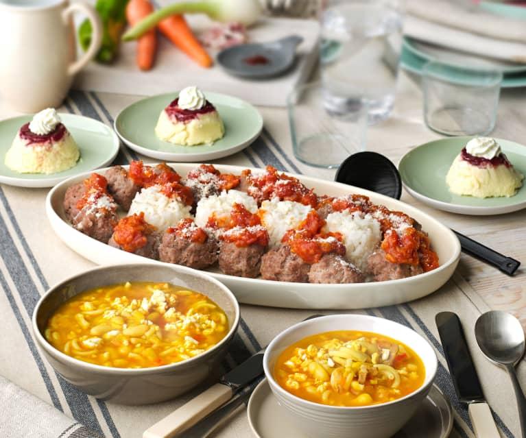 Menú: Sopa de judías blancas y fideos. Albóndigas con arroz y salsa de tomate. Cheesecake