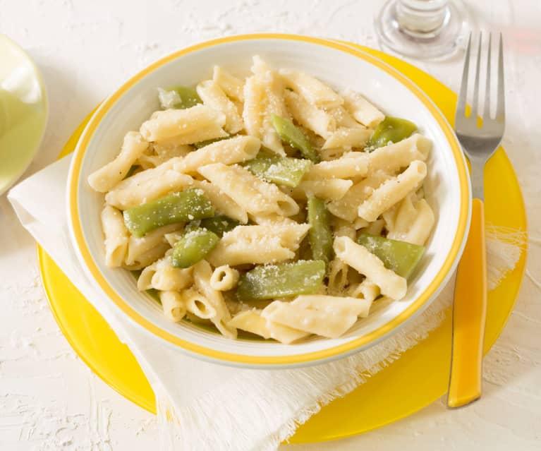Pasta risottata con coliflor y judías verdes