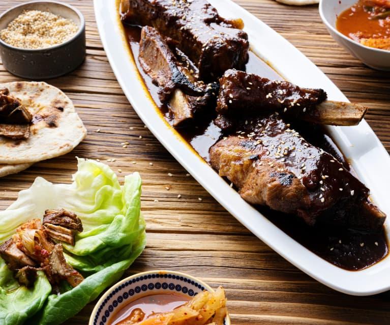 Costillas de cerdo coreanas con mini tortillas (Cocción lenta)
