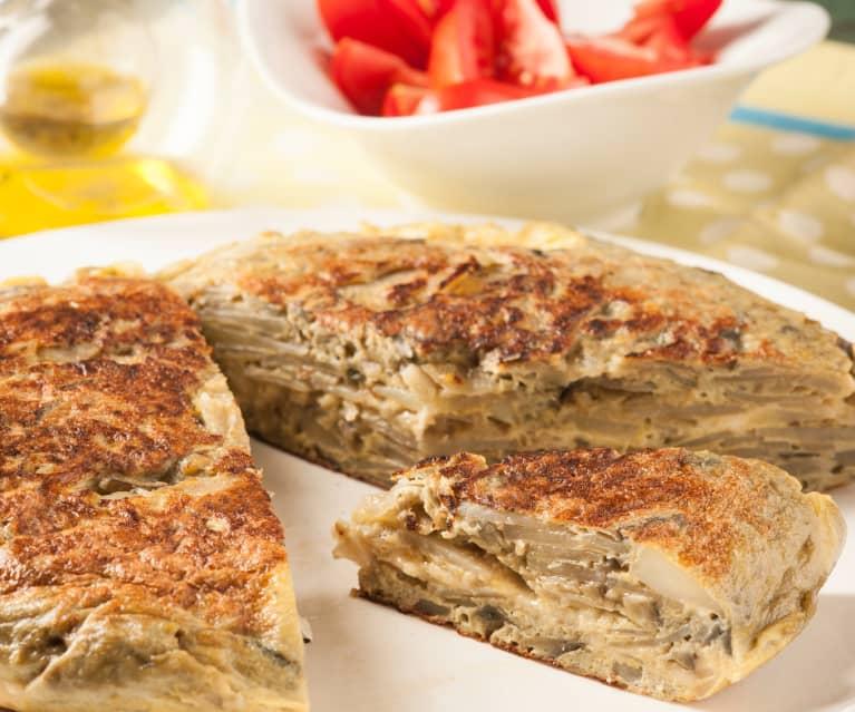 Tortilla de berenjenas y queso