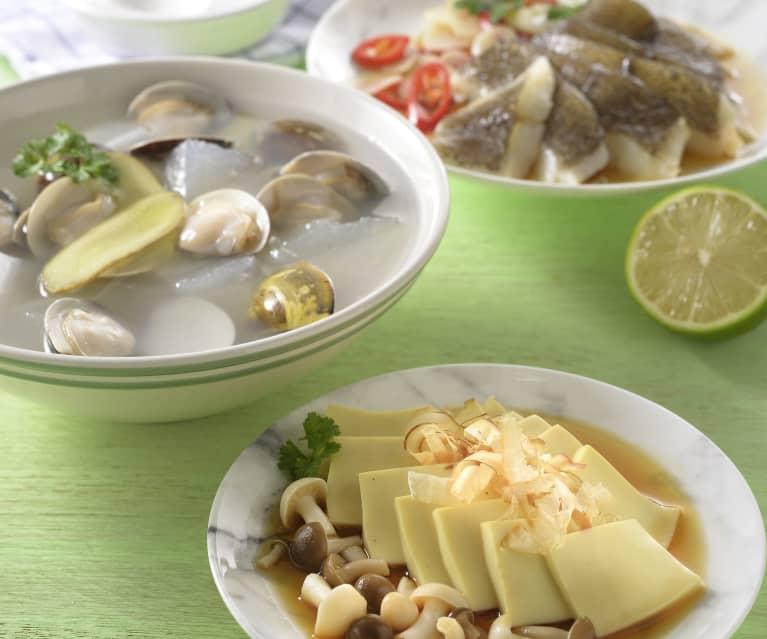 蛤蜊冬瓜湯、鮮菇豆腐&檸香鮮魚