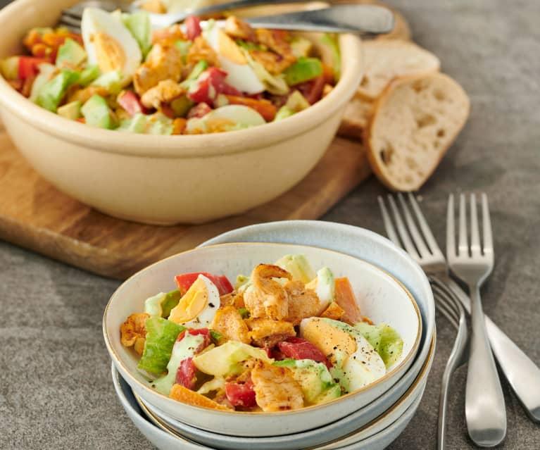Salat mit gebratenem Hähnchen und Möhren