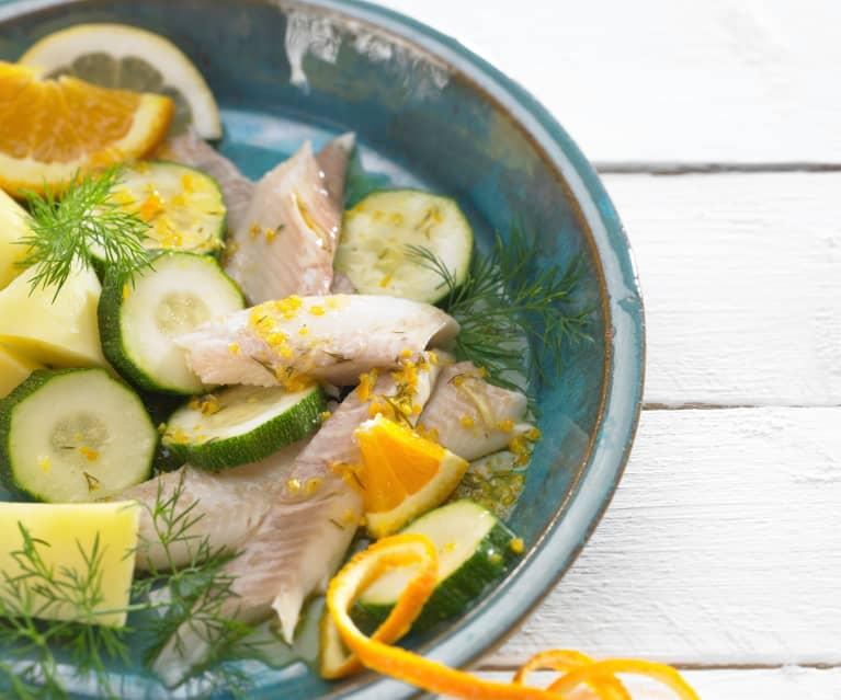 Forellen auf Zucchini mit Zitrus-Dill-Butter