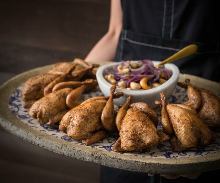 Smoked Indian-spiced quail