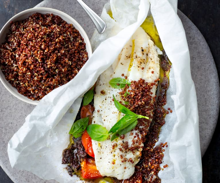 Papillotes de merlan, quinoa et tapenade
