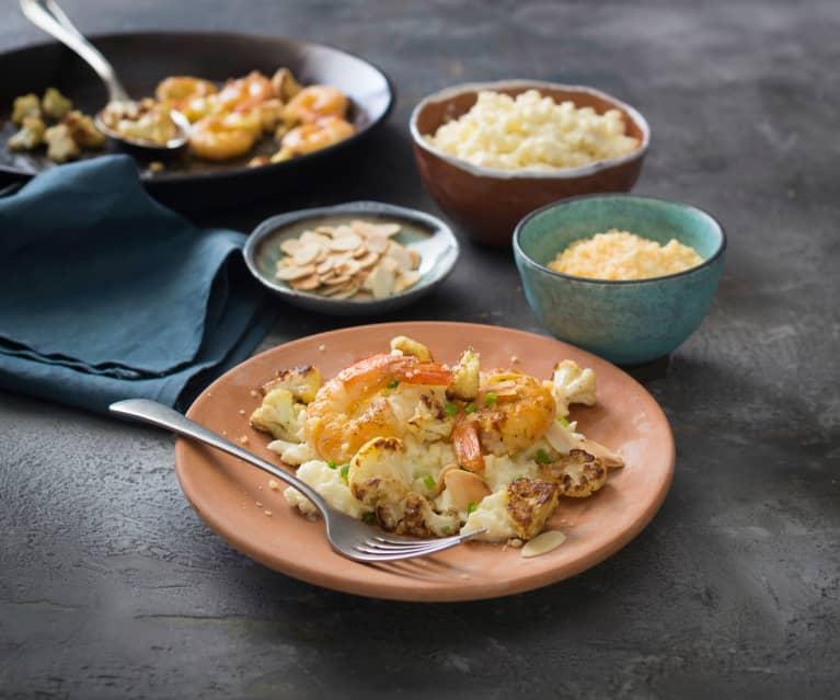 Cauliflower risotto with brown butter prawns