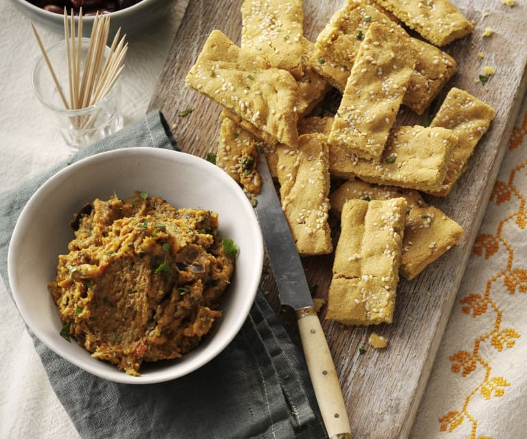 Chickpea Flatbread and Curried Vegetable Dip