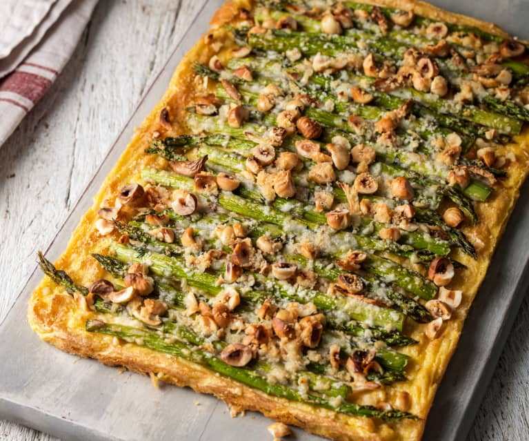 Asparagus and Hazelnut Tart with Polenta Crust