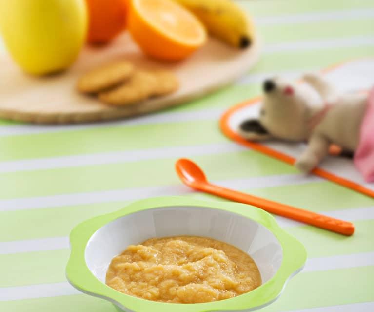 Papilla de frutas con galleta sin gluten