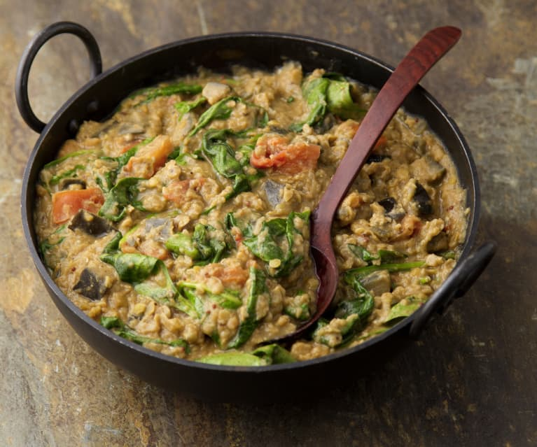 Aubergine, Spinach & Lentil Curry