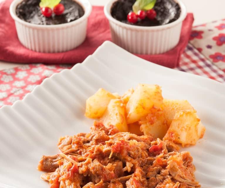 Menú: Pollo a la provenzal con patatas. Pudin de chocolate
