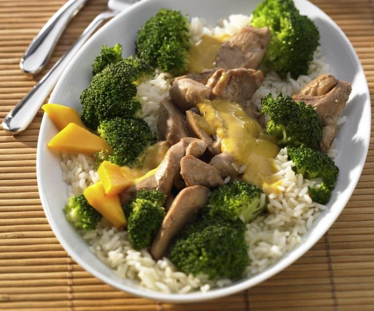 Mango-Hähnchen mit Brokkoli und Reis